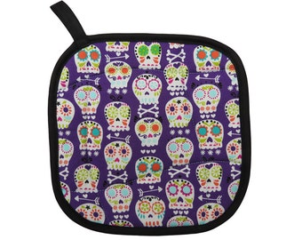 Purple Sugar Skulls Pot Holder
