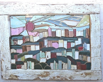 Pittsburgh Mosaic, South Side Slopes, City Skyline Portrait, Mosaic Landscape Art, Wood Wall Art, Wood Mosaic Art, Mixed Media Art