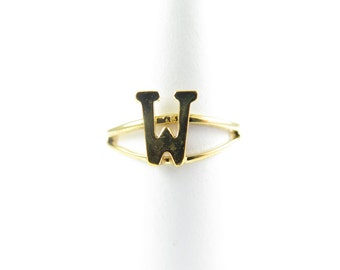 Vintage Gold Plated Adjustable Initial Letter W Ring (2X) (J517-W)