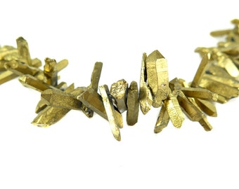Gold Electroplated  Rough Quartz Beads - (6x) (NS832)