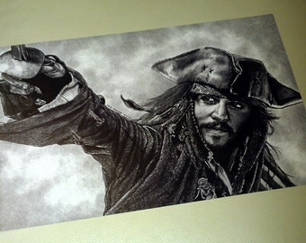 Pirates of the Caribbean 28 x 44cm Poster print. Jack Sparrow. Johnny Depp