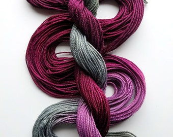 "Size 3 ""Stonehill Wine"" hand dyed thread 6 cord cordonnet tatting crochet cotton"
