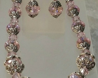 Renaissance Rosaline Swarovski crystals Necklace and Earrings  with Bali Sterling hook and eye