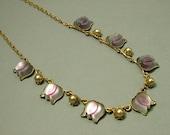 Vintage/ estate 1950s Austrian glass flower, mauve purple and costume pearl necklace - jewelry jewellery