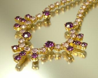Vintage jewelry 1950s Art Deco glam gold tone & mauve / purple glass diamante rhinestone/ paste costume necklace -  jewellery