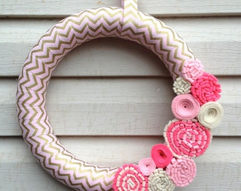 Valentines Day Wreath - Valentine Wreath - PInk & Gold Chevron Wreath - Chevron Wreath - Felt Flower Wreath - Pink Baby Shower Wreath - Pink
