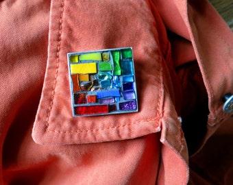 Colorful ROYGBV Brooch