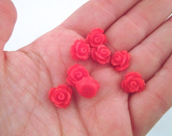 48 red 10mm rose cabochons