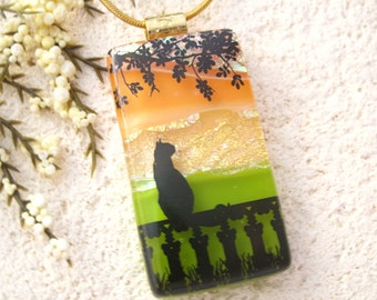 Cat Necklace, Cat Jewelry, Glass Pendant, Fused Glass Cat, Dichroic Jewelry, Fused Glass Jewelry, Glass Necklace, Bird Watching  120615p103
