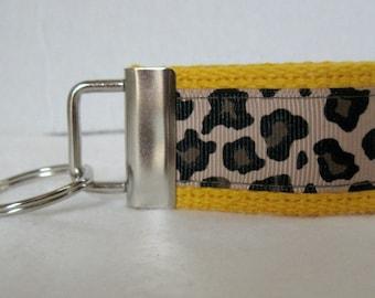 Mini Key Fob -Leopard Key Chain - YELLOW - Animal Print Key Chain - Cheetah Zipper Pull -Yellow Cheetah Key Ring - Small Keychain
