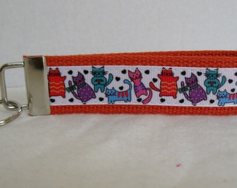 Cats Key Fob - Kitty Cat Key Chain - Cat Wristlet Keychain - Cat Lover Gift - ORANGE
