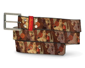 Journey to Thailand Leather Belt, Thiland Leather Belt, Journey Belt, Adventure Leather Belt, Elephant