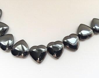 Strand -28 beads- Hematite Gemstone Heart Beads - Hematite Hearts