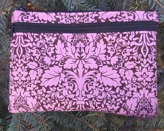 Pink Damask large clutch, optional wristlet or shoulder strap, diabetic supply case, Bali Breeze Damask, The Morning Glory