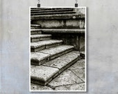 Italy Travel Photography - Stone steps Arezzo Tuscany black and white stairs abstract print wall art home decor big poster 8x12 22x34 20x30