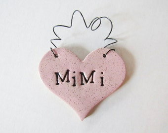 Mimi Ornament - ceramic clay - heart shaped - personalized, handmade, ready to mail