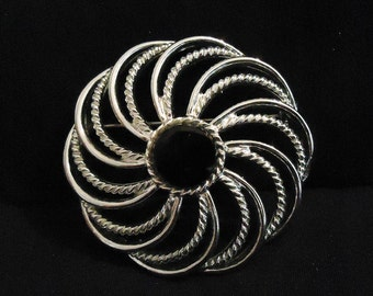 Large Vintage Silver and Black Sarah Coventry Brooch