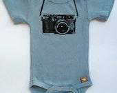 Organic Mid Blue Camera onesie - NB to 18 months