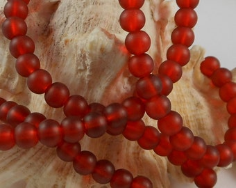 6mm Sea Glass Beads Smooth Round Frosted Matte Rusty Red (Qty 15) Z-SG6-RR