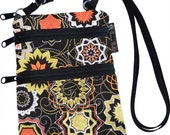 Ella Bella Purse - Cross body Purse - 3 Zippered Pocket - Adjustable Strap - Washable - FAST SHIPPING - Cell Phone Purse - Medallion Fabric