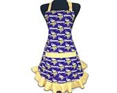 Minnesota Vikings Apron for women, Retro Style Ruffle, adjustable with pocket, Purple and Gold, Football Girls Fashion
