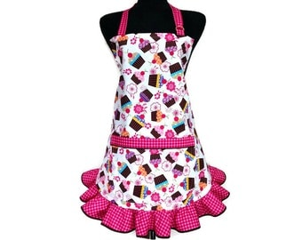 Cupcake Apron for Women with red and pink check ruffle, Retro Kitchen Decor