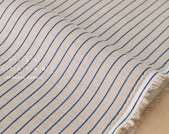 Japanese Fabric 100% linen - navy blue stripes -  50cm