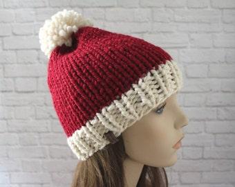 Sparkly Knit Santa Hat, Santa Claus Hat, Christmas Hat, Mens Santa Hat, Womens Santa Hat, Chunky Knit Hat, Cozy Hat, Ski Hat, Chunky Knits