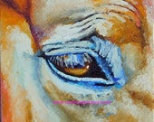 """Original Horse Eye Oil Painting 8""""x8"""" painted by knife NOT a print"""