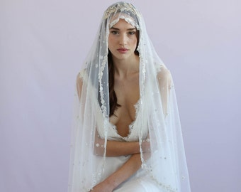 Mantilla veil - Bead speckled and embroidered Mantilla fingertip veil - Style 639 - Ready to Ship