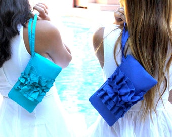 Ruffle Wedding Clutch- Printed Monogram available - Personalized Bridesmaids Gift - Turquoise Royal Cobalt Blue White and More