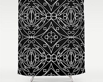 Rideau De Douche Noir Et Blanc Art Douche Rideau De