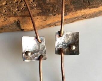 Copper and Silver Filled Earrings, Artisan Earrings, Hammered Earrings, Silver Filled Squares, Architectural Earrings, Metalwork, Rustic
