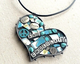 Love Peace and Chocolate Mosaic Heart Pendant