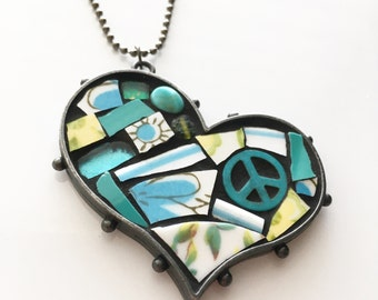 Peace Starts in the Heart Mosaic Art Pendant Necklace