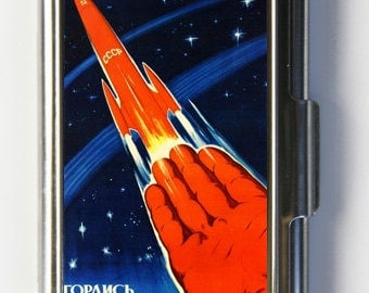 Russian soviet space propaganda Business Card Holder Card Case