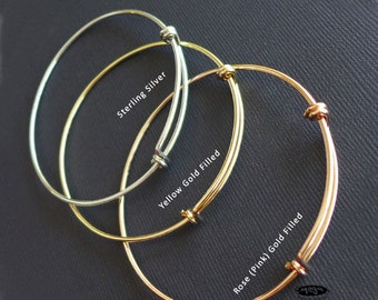 14 Gauge Thick Adjustable Bangle Bracelet Yellow or Rose Gold Filled or Sterling Silver F445