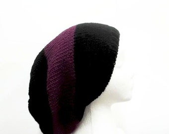 Oversized hat purple and black large stripe handmade