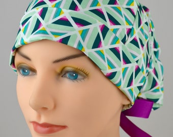 LARGE Surgical Scrub Cap -Perfect Fit Tie Back with Ribbon Ties - Geometric