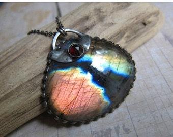 Sale - Akasaganga - Galaxy Pendant with Rainbow Labradorite and Garnet