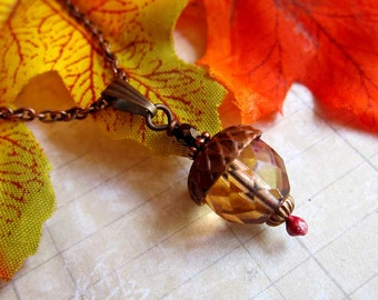 Acorn Charm Necklace in Antique Copper
