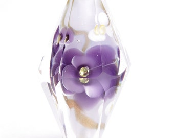 Violets and Gold Faceted Glass Bead....Handmade by Highland Beads, faceted, lamp work, cold work