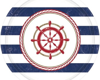 Anchors Aweigh Dessert/Appetizer Paper Plates-Package of 8. NEW- 7in Round