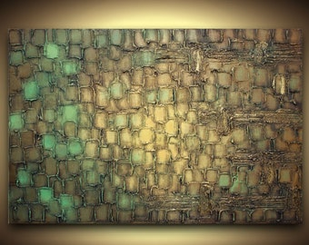 PRINT on Canvas Abstract Fine Art Giclee  Brown Blue Green Gold Modern Home Decor Wall Art Wall Hanging Contemporary Art by Susanna