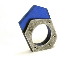 Oxidized Sterling Silver and Blue Resin Riveted Ring - Ruminate