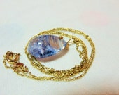 Natural Clean Beautiful Polished Blue Dumortierite Crystal Smooth Pear Drop (8 ct) and 14K Solid Yellow Gold Necklace