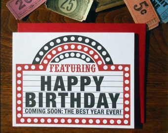 letterpress happy birthday marquee greeting card coming soon the best year ever! inspired by a theatre marquee