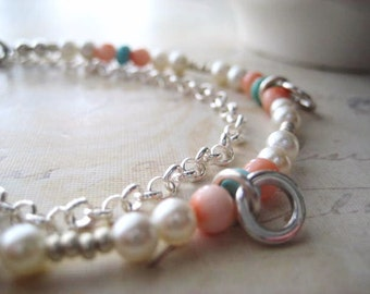 Boho Beaded Bracelet, Genuine Turquoise, Sterling Silver, Genuine Coral, Semi Precious, Vintage Pearls, Rolo Chain, Silver Seed Beads
