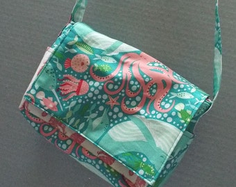 Cross Shoulder Bag or Purse Coral Queen of the Sea Fabric