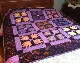 Black and Purple Batik Bear Paw Wall Quilt